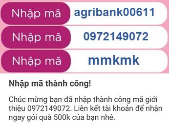 Mã khuyến mãi Momo nhận 999K: agribank00611, 0972149072, mmkmk